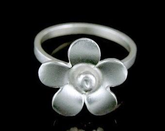 Sil-R-002 Handmade 1 flower sterling silver stacking rings