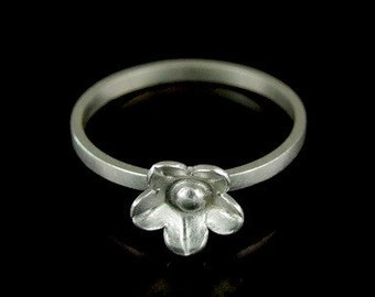 Sil-R-004 Handmade 1 flower sterling silver stacking rings