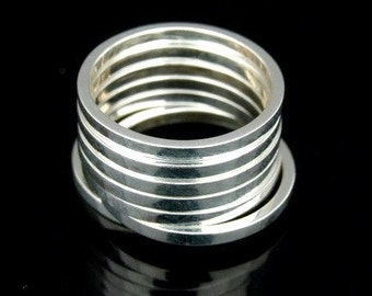 Sil-R-011 Handmade 5 plain square smooth shiny sterling silver stacking rings