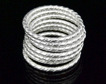 Sil-R-016 Handmade 5 twist silver wire stacking rings