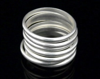 Sil-R-017  Handmade 5 plain half round sterling silver stacking rings
