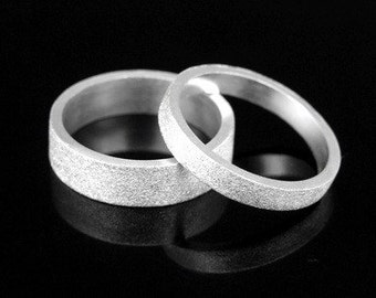 Sil-BR-003/2 Handmade 1 plain 3.0mm. square sand blast sterling silver band ring