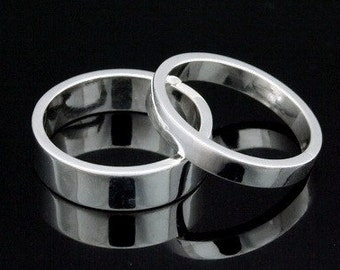 Sil-BR-004/1 Handmade 1 plain 5.0mm. square smooth and shiny finish sterling silver band ring