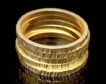 Sil-RG-012 Handmade 5 plain square scratch hammer 24K gold vermeil on sterling silver stacking rings