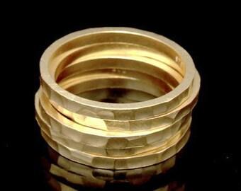 Sil-RG-014 Handmade 5 plain square handforce hammer 24K gold vermeil on sterling silver stacking ring
