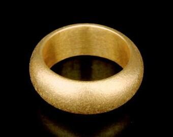 Sil-BRG-009/1 Handmade 1 sandblast half round shank 24K gold vermeil over sterling silver 8.0mm. band rings