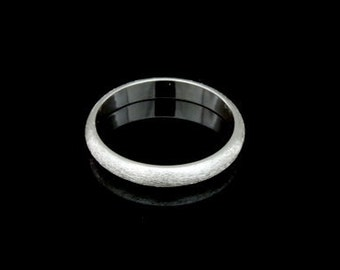Sil-BR-008/5 Handmade 1 brushed half round shank sterling silver 3.0mm. band rings