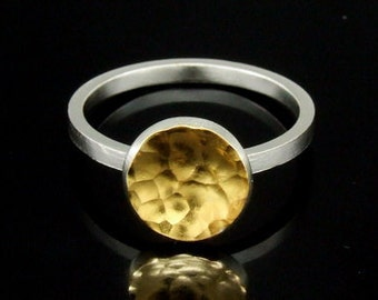 Sil-RG-001 Handmade hammered 1 small round disc 24K gold vermeil on sterling silver stacking rings