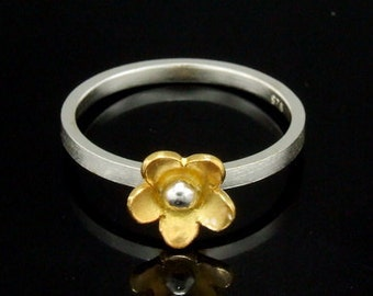 Sil-RG-003 Handmade 1 flower 24K gold vermeil on sterling silver stacking rings