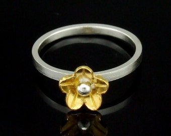 Sil-RG-004 Handmade 1 flower 24K gold vermeil on sterling silver stacking rings