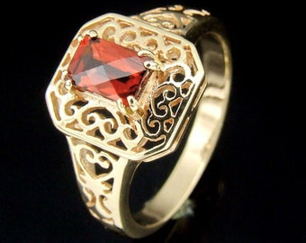 9CTRK-001 Solid 9ct 9k gold filigree red garnet ring