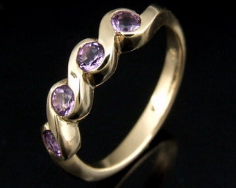 9CTRK-002 Solid 9ct 9k gold dress amethyst ring