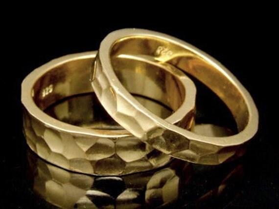 Sil-BRG-002/1 Handmade 1 plain 5.0mm. square hammer 24K gold vermeil over sterling silver band ring
