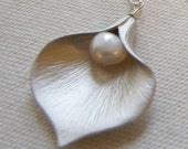 Silver Calla Lilly Necklace with Freshwater Pearl - Bridal Bridesmaids Jewelry