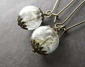 Dandelion Earrings, Hand Blown Glass, Glass Globes, Globe Earrings, Make a Wish, Gifts for Women