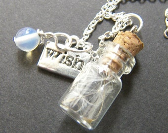Glass Vial with Dandelion Seeds Charm Necklace - Make a Wish Pendant, Holiday Gift, Jewelry for Women, Gift for Her, Mum Sister