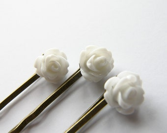 White Rose Bobby Pin Set