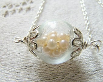 Glass Necklace Filled With Pearls, Pearl Necklace, Bridesmaid Jewelry, Wedding Necklace