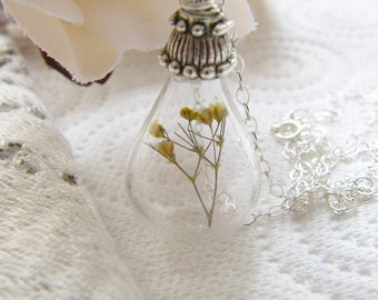 Real Flower Necklace, Teardrop, Handblown Glass, Bridesmaid, Bridal Jewelry, Jewelry for Women, Handmade Jewellery