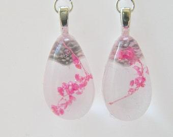 Teardrop Earrings, Dried Flower Resin Earrings, Real Flower Jewelry, Plant Resin Earrings