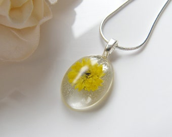 Real Flower Necklace, Sunflower Pendant, Botanical Necklace, Nature, Eco Friendly