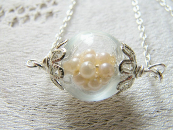 Hand Blown Glass Pearl Necklace, Bridal Jewelry, Bridesmaid