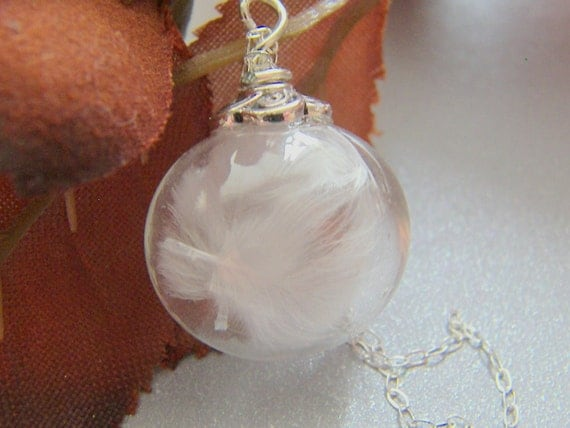 Feather Necklace, Handblown Glass Globe,  Marabou Feather Necklace, Angel, Bridal Jewelry, Christmas Gift