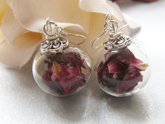 Red Rose Petal Earrings, Handblown Glass, Glass Globe Earrings, Botanical, Eco Friendly