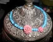 Turquoise and Pink Synthetic Coral Carved Roses Bracelet