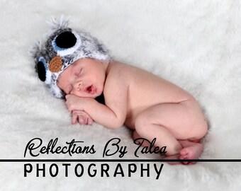 Fuzzy OWL Bird  Beanie Hat Newborn Baby Crocheted Unique Photo Prop