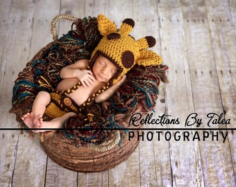SET Giraffe  Hat  and Diaper Cover with Tail Baby Crochet Unique Photo Prop