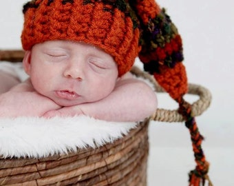 Newborn Fall Hat, Fall Elf Hat, Newborn Photo Prop, Crochet Elf Hat, Pumpkin, Baby Hat, Hat for Fall, Thanksgiving, Baby Boy, Baby Girl