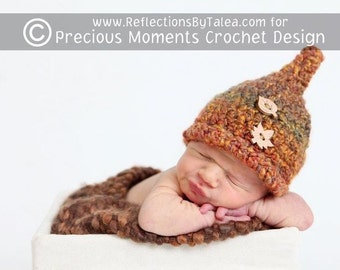 Newborn Fall Hat, Pixie Hat, Crochet Newborn Hat, Newborn Boy Hat, Newborn Girl Hat, Baby Hat, Baby Photo Prop, Leaves Buttons
