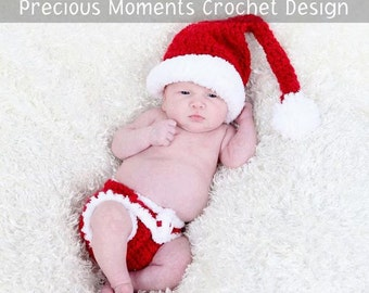 Newborn Christmas Hat and Diaper Cover, Santa Elf Hat and Diaper Cover SET, Christmas Newborn Baby PHOTO PROP