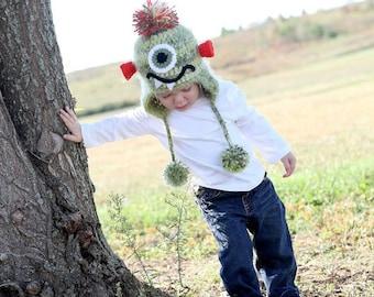 Monster Hat, Crochet Monster Hat, Toddler/Child Monster Hat, Photo Prop, Winter Hat, Warm Hat, Crochet Hat, Green, Orange, Halloween Hat