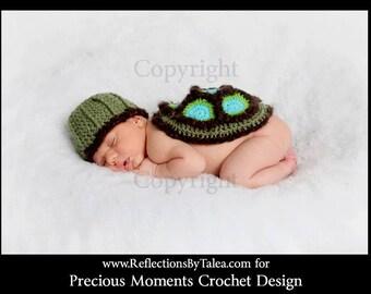 Little Turtle Hat and Body Cover Set Crochet Newborn Unique Photo Prop