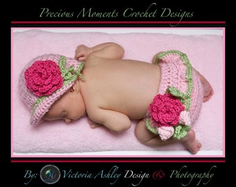 Baby Girl Hat and Diaper Cover SET, Crochet Newborn Baby Photo Prop