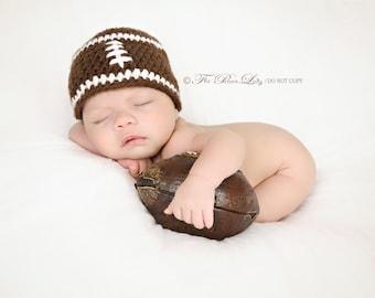 Ready Newborn Football Beanie, Football Baby Hat,  Baby Boy Hat, Newborn Baby Crochet Photo Prop