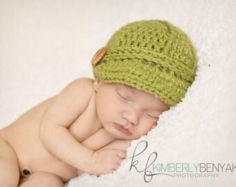 Baby Newsboy Hat, Baby Visor Cap, Crochet Visor Hat, Crochet Baby Hat PHOTO PROP