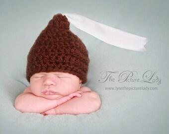 Chocolate Kisses Newborn Baby Beanie Crochet Photo Prop