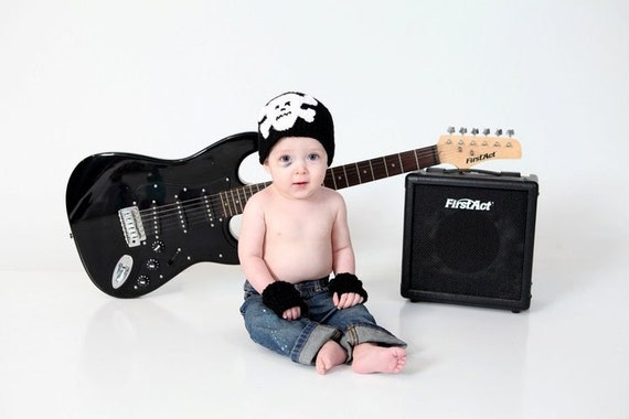 Skull and Crossbones Beanie Hat and Fingerless Mittens Baby Crocheted Unique Photo Prop