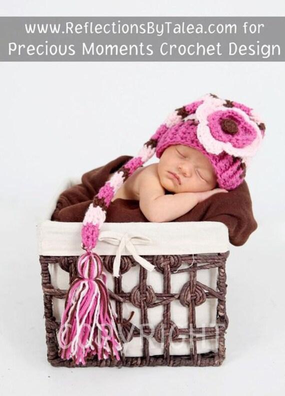 Newborn Elf Hat, Newborn Girl Efl Hat, Newborn Hat Photo Prop, Baby Stocking Hat, Elf Hat with Flower, Newborn Baby Crochet PHOTO PROP