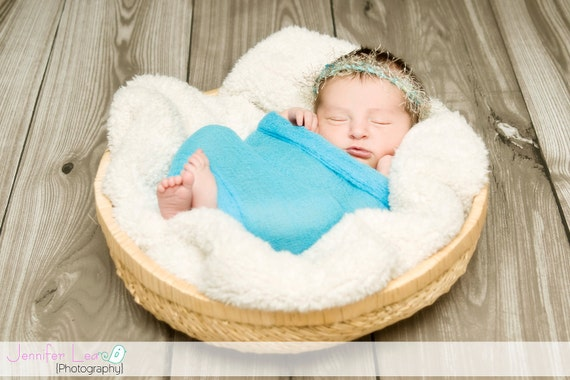 SET Bahama Blue Cheesecloth Wrap and Dragonfly Halo Newborn Baby PHOTO PROP