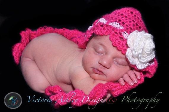 Newborn Hat Photo Prop, Crochet Baby Girl Hat, Baby Girl Lace Bonnet with Rose, Newborn Crochet PHOTO PROP