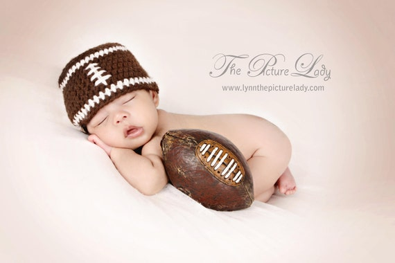 Football Hat, Newborn Football Hat, Baby Football Beanie, Sports, Newborn Photo Prop, Crochet Football Hat, Boy Photo Prop, Infant