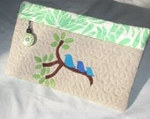 Sweet Embroidered  Bluebird Family On Tree Branch Padded Zippered eReader Cover or Cosmetic Bag