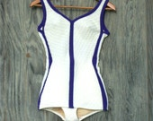 Vintage Purple and White 1950's Pinup Swimsuit