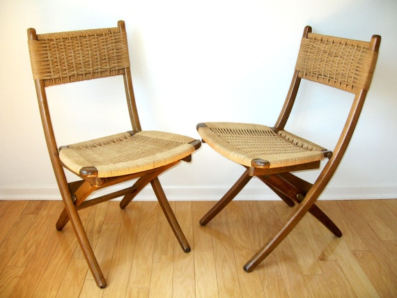 Mid Century Modern Folding Chairs Pair Of Mid Century