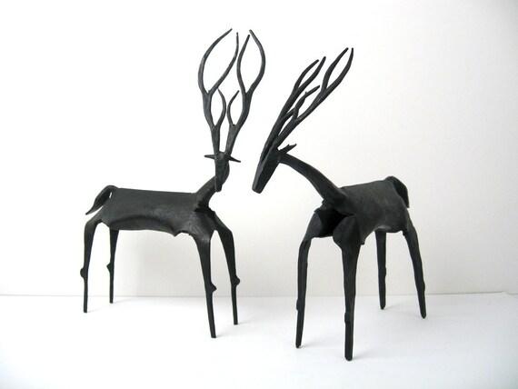 "Pair of 12"" Mid-Century Modernist Iron Sculptures - Antelope / Deer / Eland Table / Mantel Art Figural Sculptures"