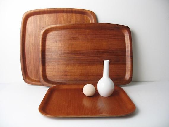 Trio of Danish Modern Teak Bentwood Serving Trays